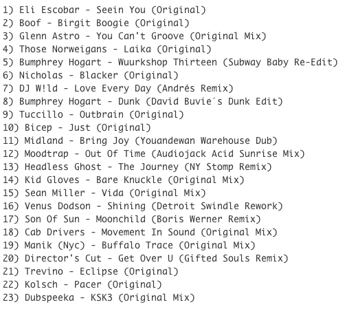 Subway Baby-Haus Your Buddy (Mixsession 21) TRACKLIST