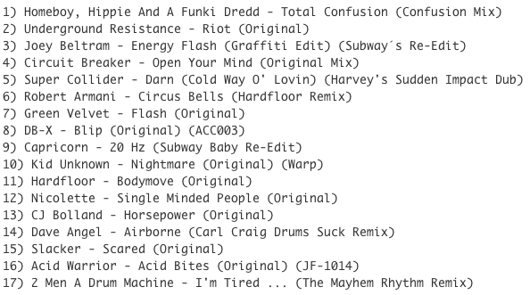 Subway Baby-Tweaks & Peaks (Session 16) TRACKLIST