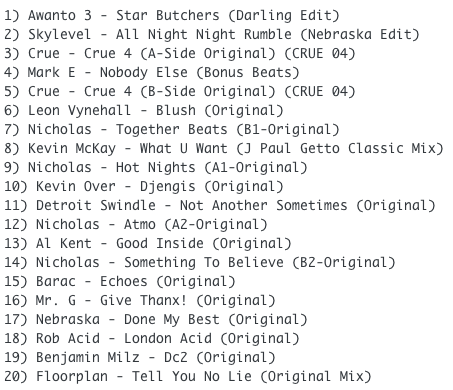 Subway Baby-Haus Your Buddy (Mixsession 27) TRACKLIST