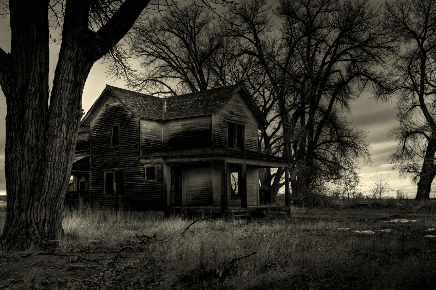 haunted house, as I was told by the locals. Shot in rural Wyoming. A dark, monochrome HDR image.