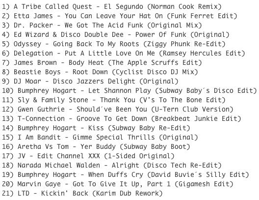 Subway Baby-Bump N Boogie (Mixtape 20) TRACKLIST