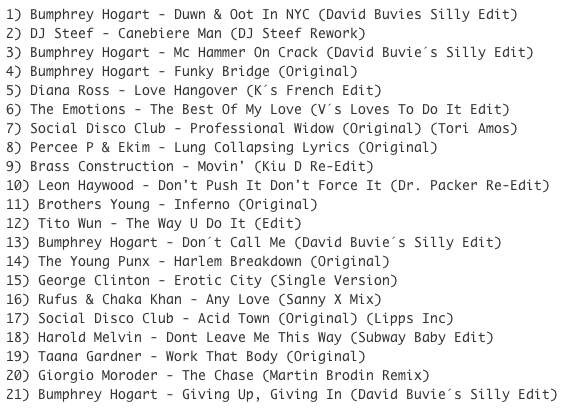 Subway Baby-Bump N Boogie (Mixtape 23) TRACKLIST
