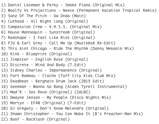 Subway Baby-Haus Your Buddy (Mixsession 22) TRACKLIST