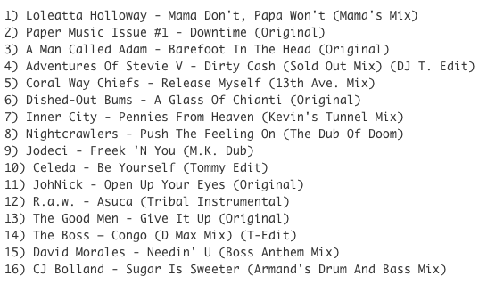Subway Baby-Tweaks & Peaks (Session 14) TRACKLIST