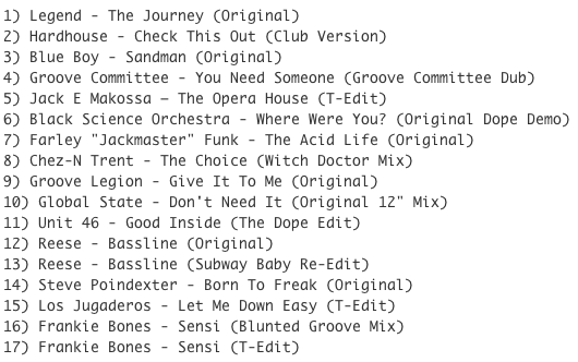 Subway Baby-Tweaks & Peaks (Session 15) TRACKLIST