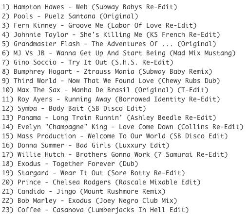 Subway Baby-Bump N Boogie (Mixtape 28) TRACKLIST
