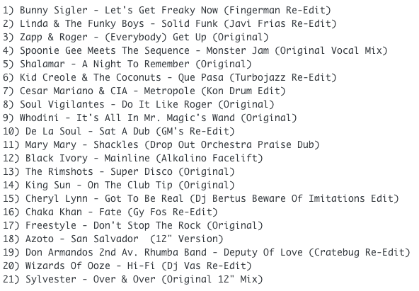 Subway Baby-Bump N Boogie (Mixtape 29) TRACKLIST