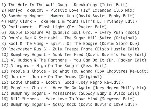 Subway Baby-Bump N Boogie (Mixtape 32) TRACKLIST