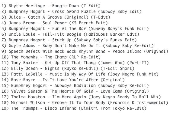Subway Baby-Bump N Boogie (Mixtape 33) TRACKLIST