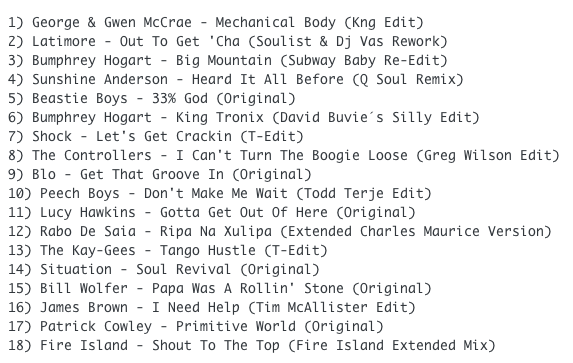 Subway Baby-Bump N Boogie (Mixtape 35) TRACKLIST