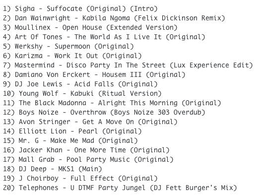 Subway Baby-Haus Your Buddy (Mixsession 34) TRACKLIST